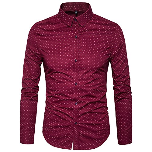 MUSE FATH Men's Printed Dress Shirt-100% Cotton Casual Long Sleeve Shirt- Interview Dress Shirt-Wine Red-L
