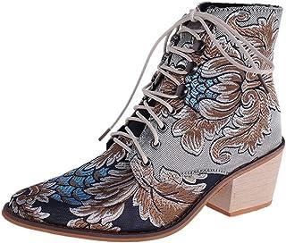 Botines De Altos Tacón Mujer Estilo étnico Vintage Botas de Caballero Encaje Bordados Zapatos con Cordones Puntiagudo Plat...
