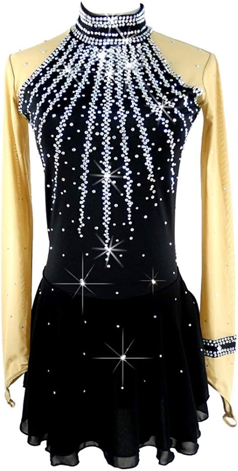 YunNR Long Sleeved Figure Skating Dress For Women Girls Crystal Rhinestone Adult High-necked Ice Skating Suit Professional Competition Skating Wear