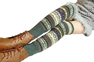 M RACLE Womens' Adult Knit Crochet Knee High Winter Boot Socks Leg Warmers
