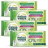 Maison Verte - Lingettes Nettoyantes Multi-Usages 0% 70 Pièces - Lingettes biodégradables - Hypoallergénique - Sans Allergènes - Sans Additifs - Fibre de Cellulose 100% d'Origine Naturelle - Lot de 4