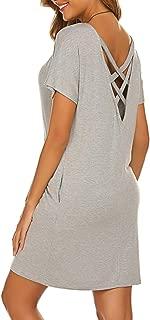 Women's Casual Criss Cross Short Sleeve Beach Tunic T Shirt Dress with Pockets