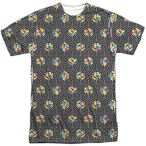 Rubik's Cube - Camiseta de sublimación para hombre, color blanco y negro - Blanco - XX-Large
