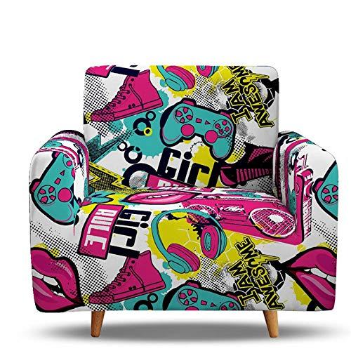 Funda de Sofá Hip Hop Gamepad Tigre Postre Yin Yang Azul Rosa Leopardo Funda de Sofá Poliéster Elástico Antifouling Dormitorio Sala de Estar Funda de Sofá Decoración (D,1 Plaza 90-140 cm)