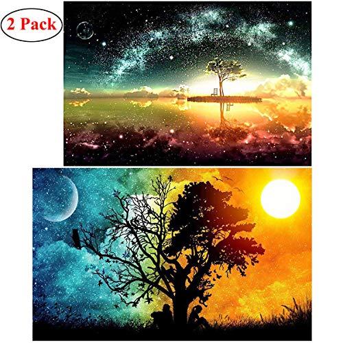 DANXIAN 2 Pack 5D Diamant Full Malerei DIY Crystal Strass Stickerei Bilder Kunst Handwerk für Home Wall Decor Starry Sky and Sun & Moon