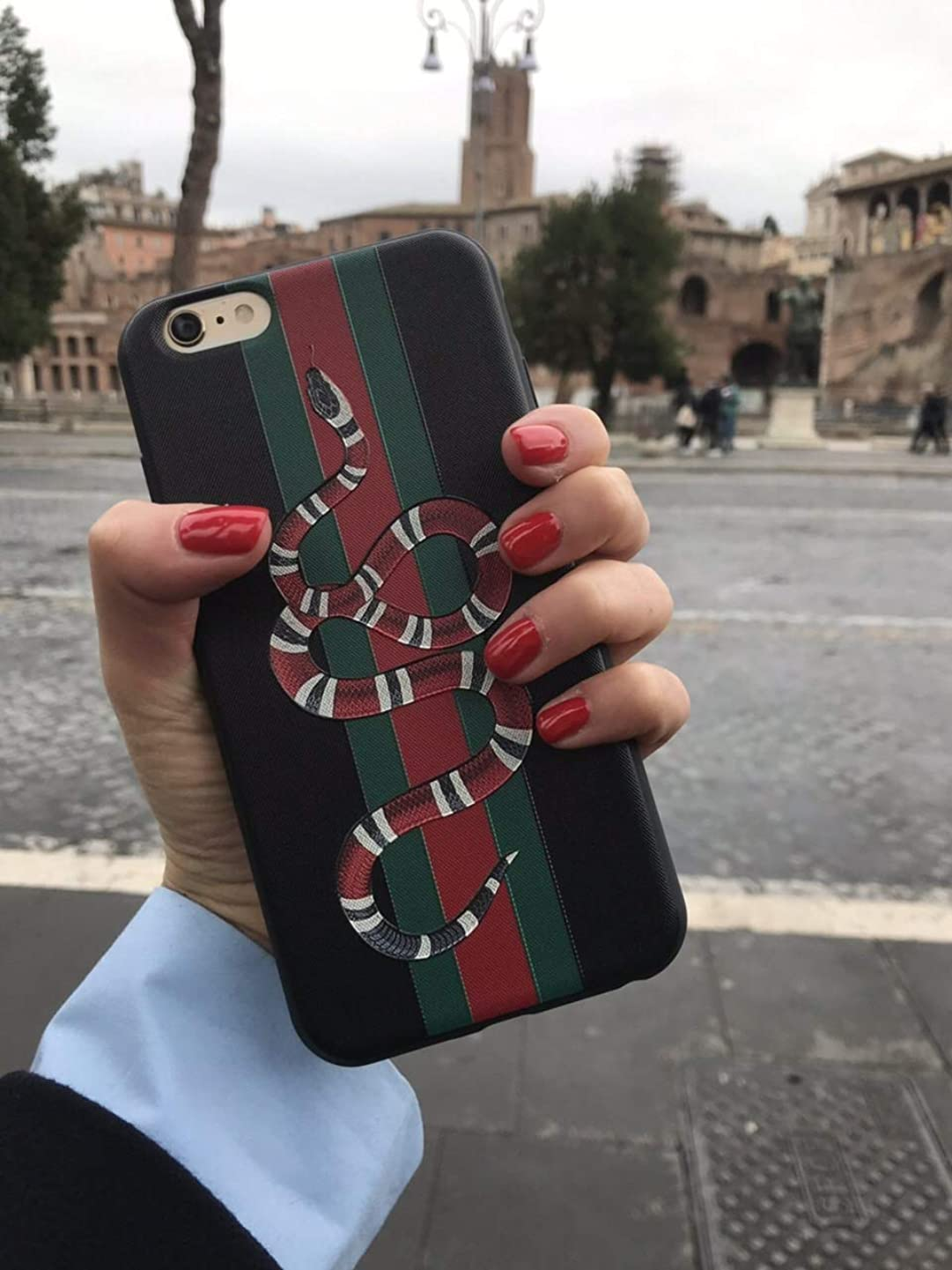 Fashion G Style -Glass Protective Case Cover for iPhone 7 Plus iPhone 8 Plus Only 5.5 Inches (Red Snake)