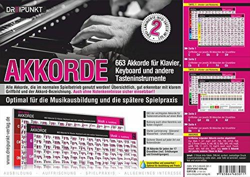 Info-Tafel-Set Akkorde: 663 Akkorde für Klavier, Keyboard und andere Tasteninstrumente