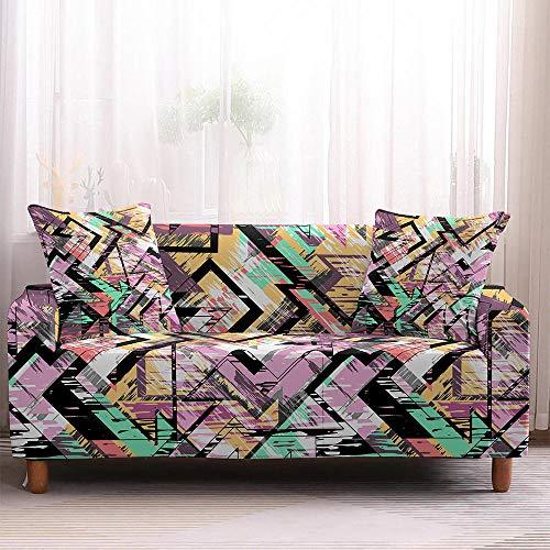 Fundas para sofá de sala de estar, con geometría colorida, elásticas, fundas para sofá de sala de estar, fundas de sofá de elastano, protectores de sofá de 3 plazas_color3