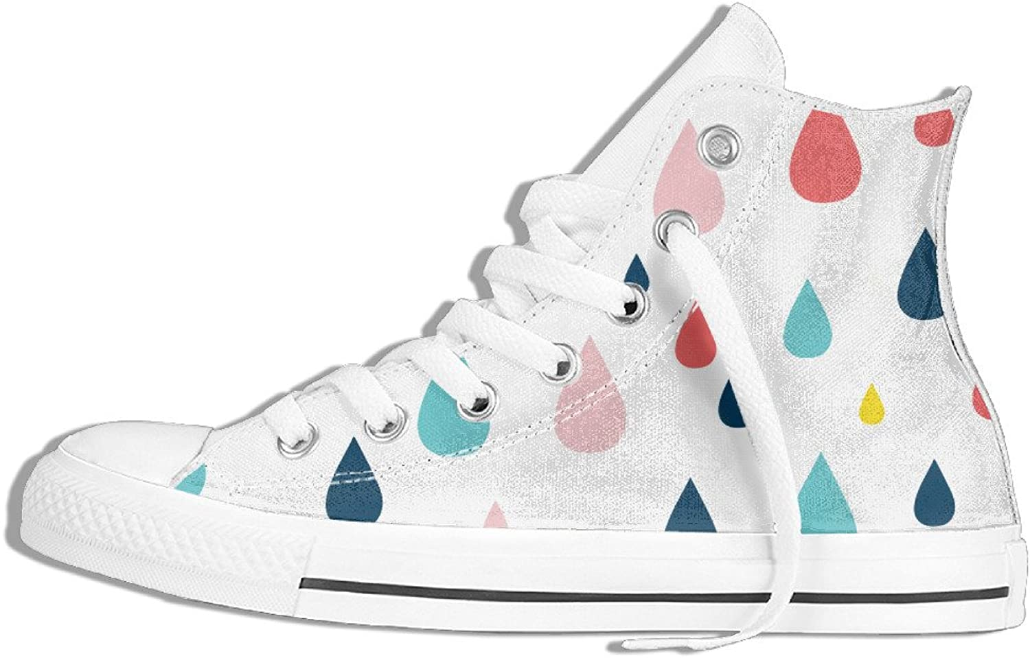 Efbj Water Drops Unisex Comfortable High Top Flat Canvas shoes for Men and Women