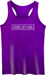GROWYI Funny Workout Tank Top Racerback for Women with Saying Unbelievable Horror TV Fitness Gym Sleeveless Shirt