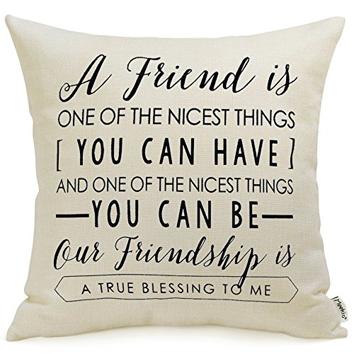 "Meekio Friendship Gifts Decorative Throw Pillow Covers 18"" x 18"" with Friend Quotes"