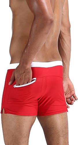 Maillot de bain homme Troncs de bain pour hommes poches arrière maillot de bain fermeture à glissière à séchage rapide haute élastiques pantalons de plage de couleur unie imperméable appropriés pour l
