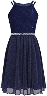 Teen Girls Sleeveless Sequined Floral Lace Shiny Dress for Wedding Birthday Party Summer Formal Dresses