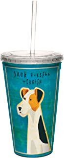 Jack Russell Terrier Dog Double-Walled Cool Travel Cup with Reusable Straw, 16-Ounce - Cute Gift for Puppy Lovers - Tree-Free Greetings cc33986