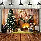 7x5ft Fondo Fotografía Navidad Telón de Fondo Patrón de Chimenea Navidad Árbol Luces Brillantes y Regalo Tela de Fondo Navidad Decoración de Fotografía Plegable Photo Studio Props Photo Booth
