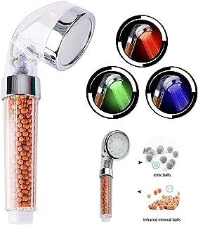 HJ Stay Real Douchekop met led-filterfunctie, hoge druk, handdouche, watertemperatuurregeling, 3 licht (kleurverandering i...