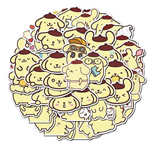 YMSD 50pcs Pudding Perro Lindo Mano Cuenta Pegatinas Portátil Teléfono Maleta Dibujos Animados Pegatinas Impermeable