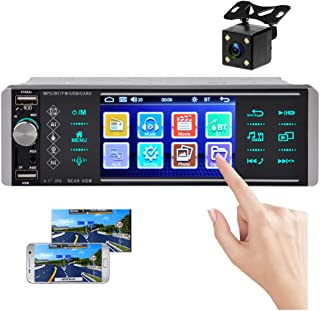 Single Din Bluetooth Car Radio 4'' Capacitive Touch Screen 1 Din Car Stereo FM/AM/RDS Radio Receiver with Dual USB/AUX-in/... photo