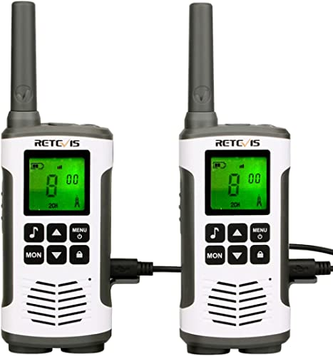 Retevis RT45 Talkie Walkie, Rechargeable USB PMR446 Talkie-Walkie Professionnel,16 Canaux 121 Codes VOX LED Longue Po...