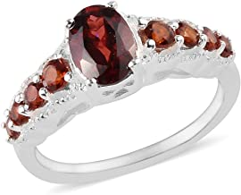 925 Sterling Silver Oval Garnet Statement Ring for Women Cttw 1.2 Jewelry Gift