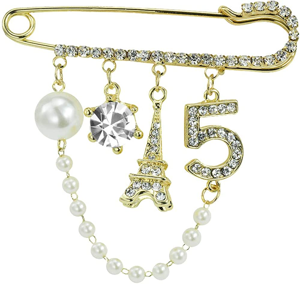 Mamfous Vintage Crown Number 5 Lapel Pins and Brooches for Women Rhinestone Jewelry with Simulated Pearl