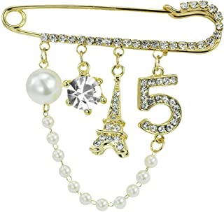 Vintage Crown Number 5 Lapel Pins and Brooches for Women Rhinestone Jewelry with Simulated Pearl
