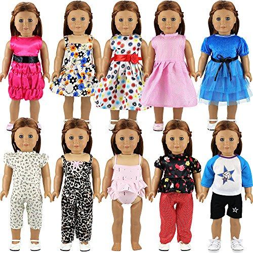 Miunana 10 PCS Abiti Vestiti Pantaloni alla Moda Fashion + per 16 - 18 Pollici / 40 - 46 CM American Girl Dolls, Amore Mio Bambola E Altre 16 - 18 Pollici / 40 - 46 CM Bambole