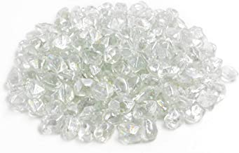 """Mr. Fireglass 1/2"""" Polygon Fire Glass for Natural or Propane Fire Pit,Fireplace and Fire Table,10 lb,Crystal"""
