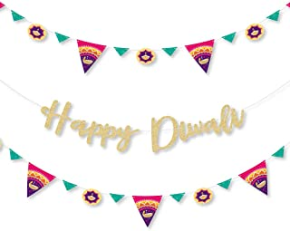 Big Dot of Happiness Happy Diwali - Festival of Lights Party Letter Banner Decoration - 36 Banner Cutouts and No-Mess Real...