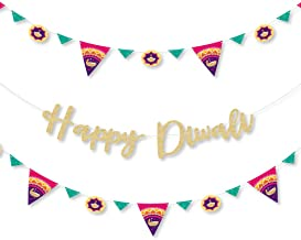 Big Dot of Happiness Happy Diwali - Festival of Lights Party Letter Banner Decoration - 36 Banner Cutouts and No-Mess Real Gold Glitter Happy Diwali Banner Letters