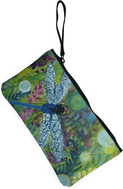 AORRUAM Hand painted blue dragonfly Canvas Coin Purse,Canvas Zipper Pencil Cases,Canvas Change Purse Pouch Mini Wallet Coin Bag