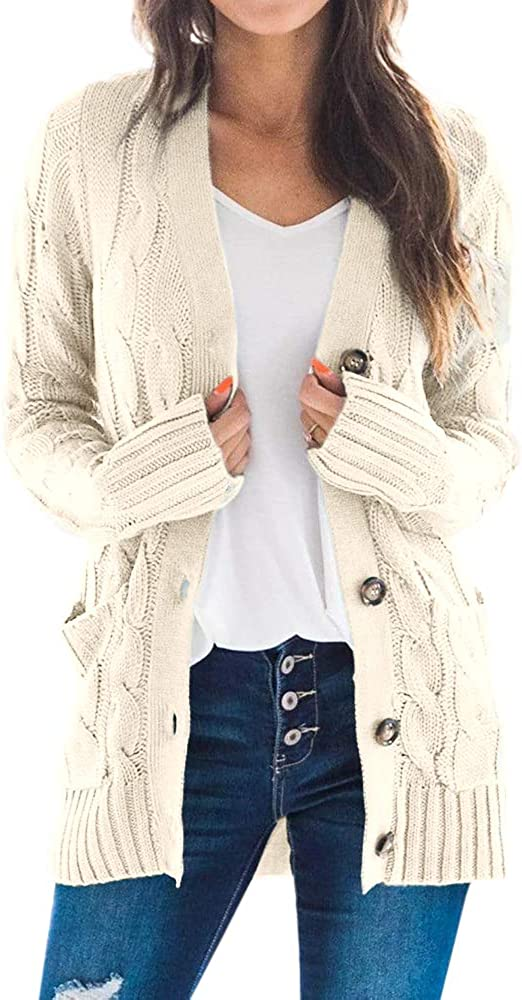 Imily Bela Womens Cable Knit Button Down Cardigan Sweaters Open Front Long Sleeve Knitwear Coat with Pockets