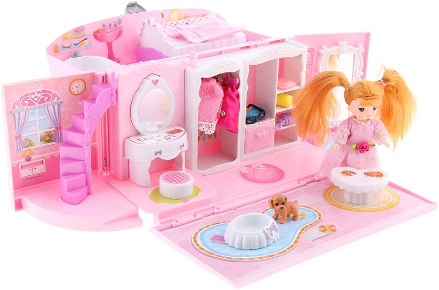 Homyl Portable Doll House Dollhouse w  Furniture and Other Accessories Kids Girls Pretend Play Toy, Pink, Ages 3 Years and Up