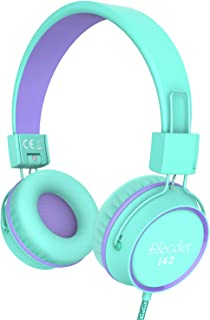 Elecder i42 Kids Headphones, Safe Volume Limited 85dB, Foldable Adjustable On Ear Headphones, 3.5mm Jack Compatible with iPad, Cellphones, Computer, MP3/4 Kindle Tablet Airplane School (Green/Purple)