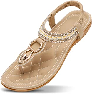 e6e228619 ZOEREA Ladies Sandals Peep Toe T-Strap Bohemia Women Sandals Flats Flip  Flops Beach Holiday