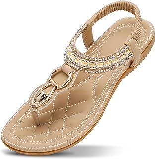 ZOEREA Sandales Plates Femme Mode Été Bohème Strass Fleurs Cuir PU Tongs Peep Toe Confortables Femmes Chaussures pour Plag...
