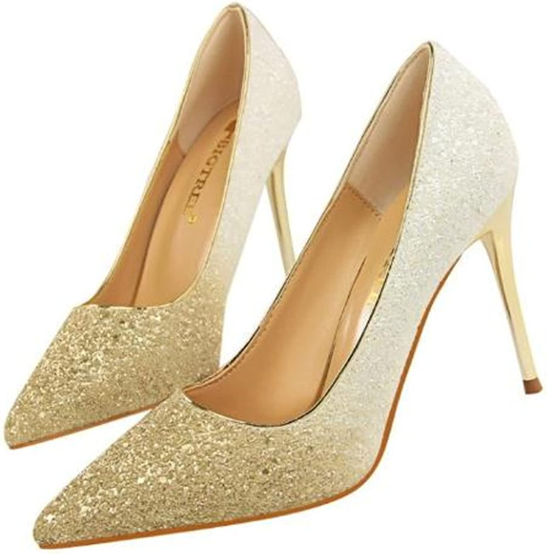 FORTUN Wedding Women's Gradient Sequins Stilettos high Heels Pointed Toe shoes