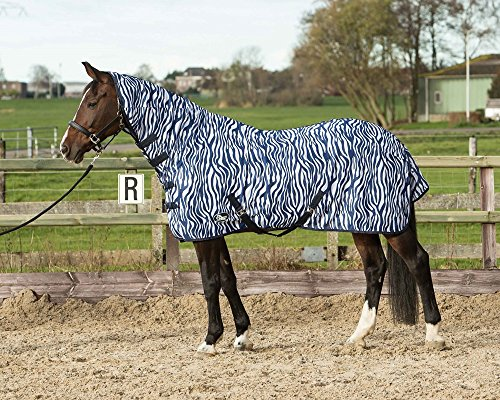 Harry 's Horse 32205028–145cm–Manta antimoscas Malla con Correas, M, Zebra French Azul