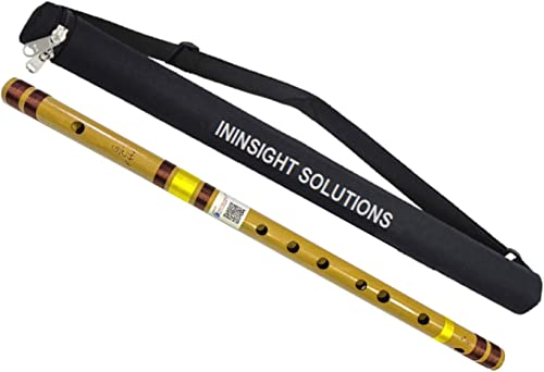 Ininsight Solutions Scale C Natural 19 Inches Polished Bamboo Flute/Bansuri With Varry Bag
