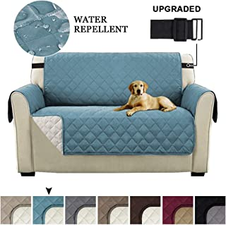Reversible Sofa Cover, Quilted Couch Cover For 2 Cushion Couch, Water Resistant Furniture Protector With Elastic Strap Non Slip Furniture Cover Seat Width Up to 46(Loveseat:Smoke Blue/Beige)