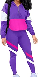 Comaba Women Slim Fit Stylish 2-Piece Workout Patch Slouchy Sportswear Set Activewear