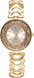 Stylish watch Women's Watch Quartz Wrist Watch with Round Dial Crystal Bling Watch with Buckle Strap for Elegant Female,Golds Watch (Color : Golds)