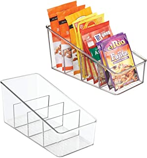 mDesign Large Plastic Food Packet Organizer Caddy - Storage Station for Kitchen, Pantry, Cabinet, Countertop - Holds Spice...