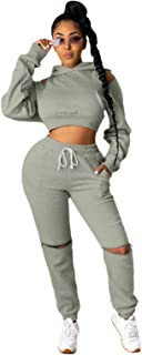 Women's Tracksuit, 2 Piece Outfits Set for Women, Bodycon Pants Joggers Clubwear Tracksuit Sportswear Sweatsuit,Gray,XXXL