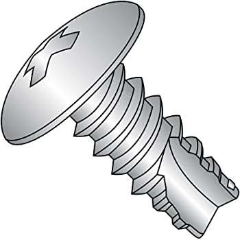 Type 25 1-1//2 Length Phillips Drive Steel Thread Cutting Screw #4-24 Thread Size Pack of 100 Pan Head Zinc Plated Finish