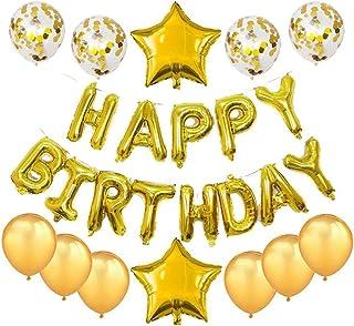 Haimimall Happy Birthday Balloons Set Gold -13pcs Letters Balloons 2pcs Giant Star Foil Balloons 4pcs Confetti Balloons 8p...