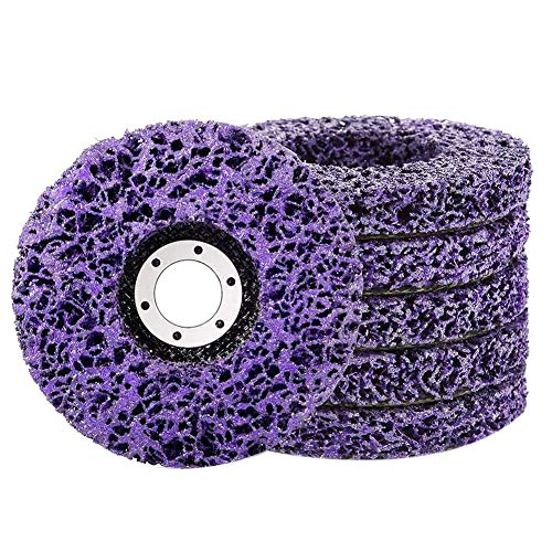"ZEAVAN Rust Paint Stripper Remover Stripping Disc, Strip Discs for Angle Grinder Remove Rust Paint Clean Welds Grinding Wheel Purple-5 Pack (4-1/2"" x 7/8"")"