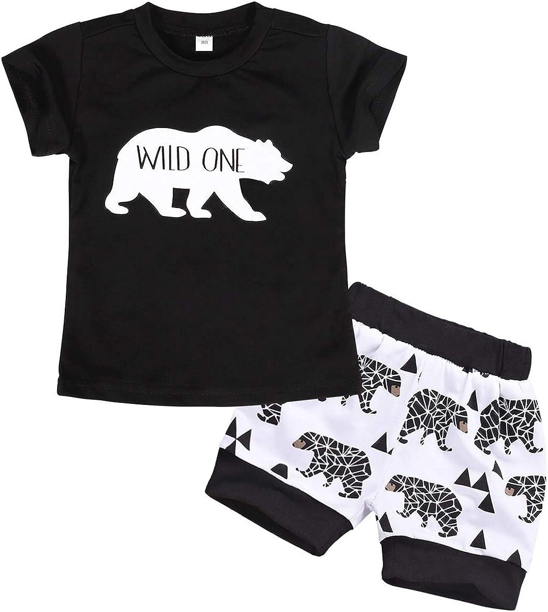 AmzBarley Toddler Boys Clothes Kids Summer Outifts Set Animal Printed Top + Shorts Set