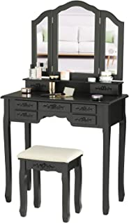 Tiptiper Makeup Vanity Table, Vanity Set with Tri-Folding Mirror & Sturdy Stool, Dressing Table with 8 Necklace Hooks & 7 ...