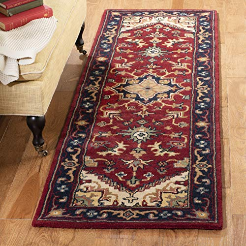 Safavieh Heritage Collection HG625A Handcrafted Traditional Oriental Heriz Medallion Red Wool Area Rug (2' x 3')